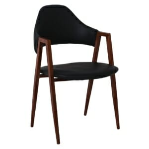 Стол с черна еко кожа и метална основа в цвят орех