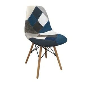 Стол с текстилна дамаска в стил пачуърк и дървени крака