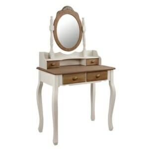 Тоалетка във винтидж стил с овално огледало и декорация серия Мелани в екрю