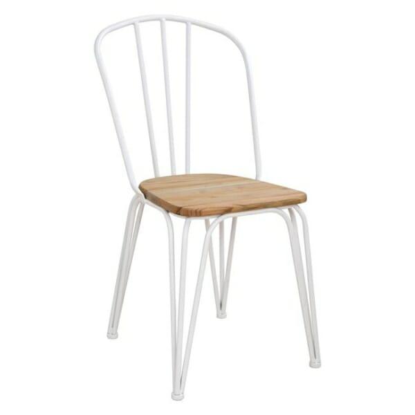 Трапезен стол от метал и дърво в индустриален стил в бяло