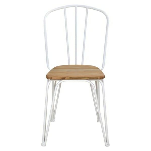 Трапезен стол от метал и дърво в индустриален стил в бяло отпред