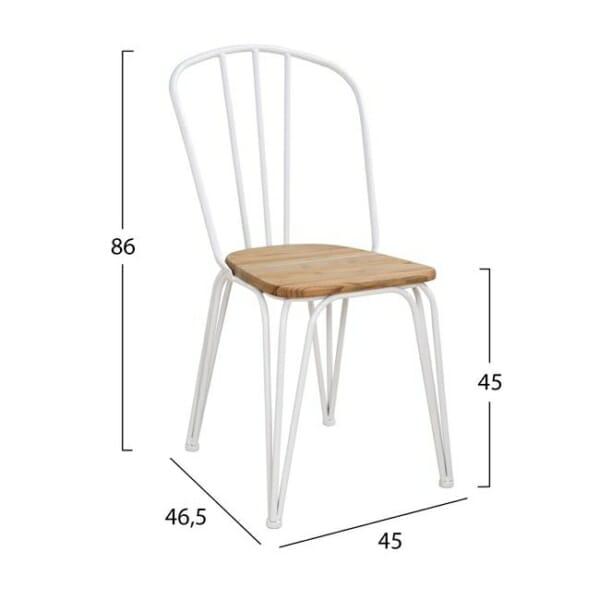 Трапезен стол от метал и дърво в индустриален стил в бяло размери