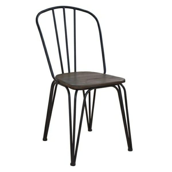 Трапезен стол от метал и дърво в индустриален стил в черно