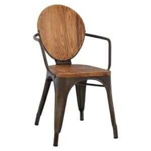 Трапезен стол от метал и дърво в индустриален стил в тъмнокафяво