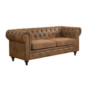 Триместен диван с кафява дамаска като велур Камел