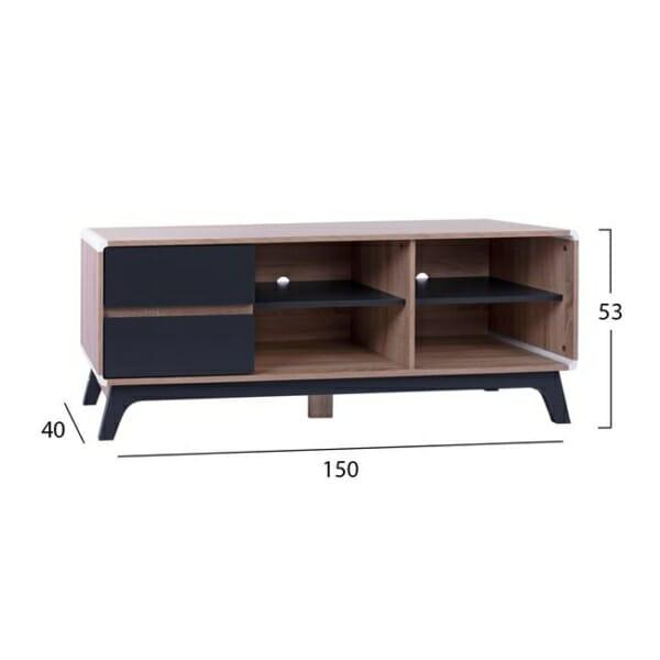 ТВ шкаф с две чекмеджета и два рафта размери