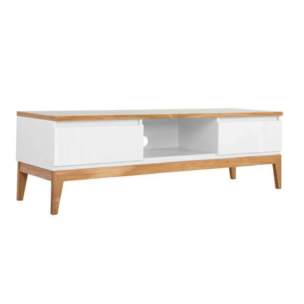 ТВ шкаф с 2 чекмеджета в бяло и натурален дъб Киото