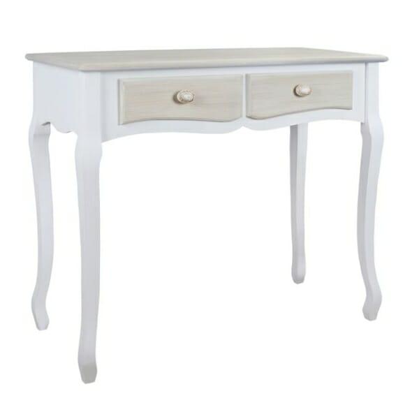 Винтидж конзола с извити крака и 2 чекмеджета серия Мелани в бяло и сиво