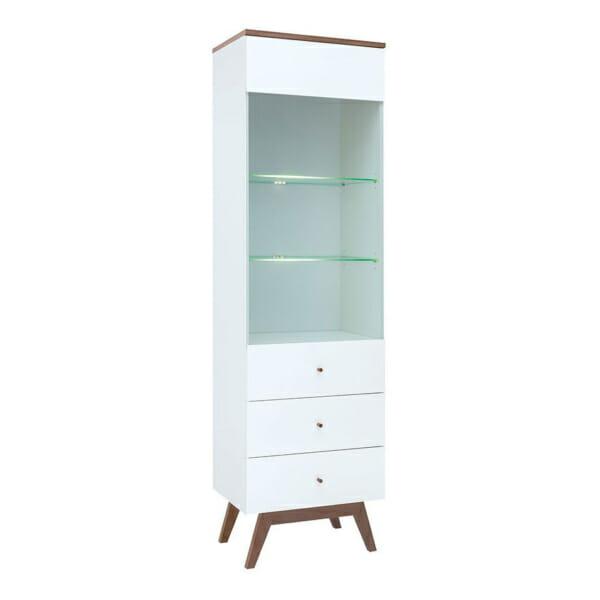 Висок шкаф витрина със стъклена вратичка и рафтове Хеда