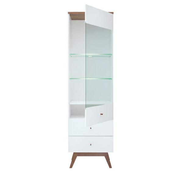 Висок шкаф витрина със стъклена вратичка и рафтове Хеда - разпределение