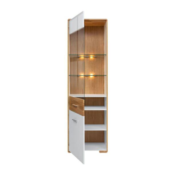 Шкаф витрина с вградено осветление и леви панти Бари - разпределение