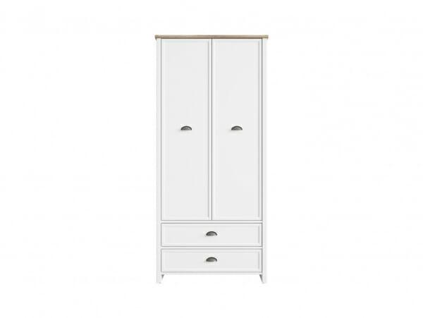 Бял двукрилен гардероб с 2 чекмеджета Канет - отпред