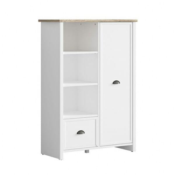 Бял шкаф с 3 открити рафта, чекмедже и вратичка Канет