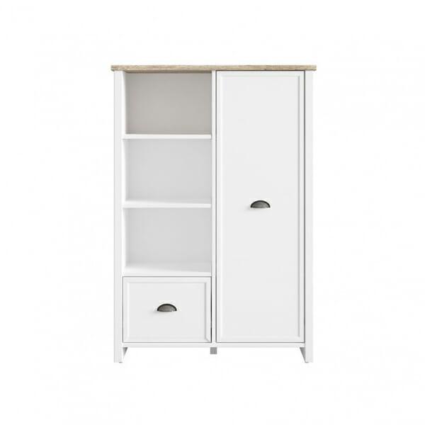 Бял шкаф с 3 открити рафта, чекмедже и вратичка Канет - отпред