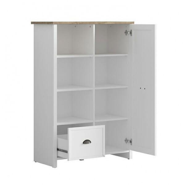 Бял шкаф с 3 открити рафта, чекмедже и вратичка Канет - разпределение