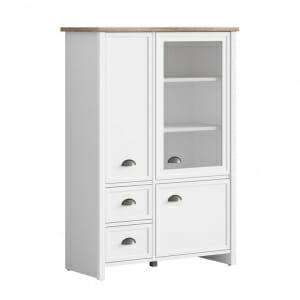 Бял шкаф със стъклена витрина и 2 чекмеджета Канет