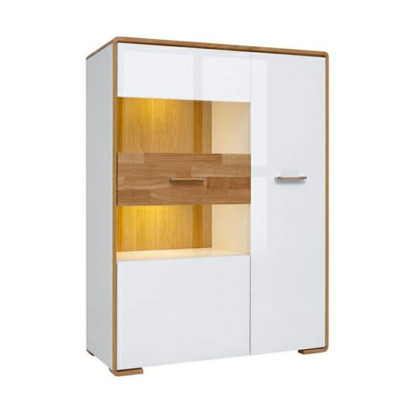 Бял шкаф със стъклена витрина и LED осветление Бари