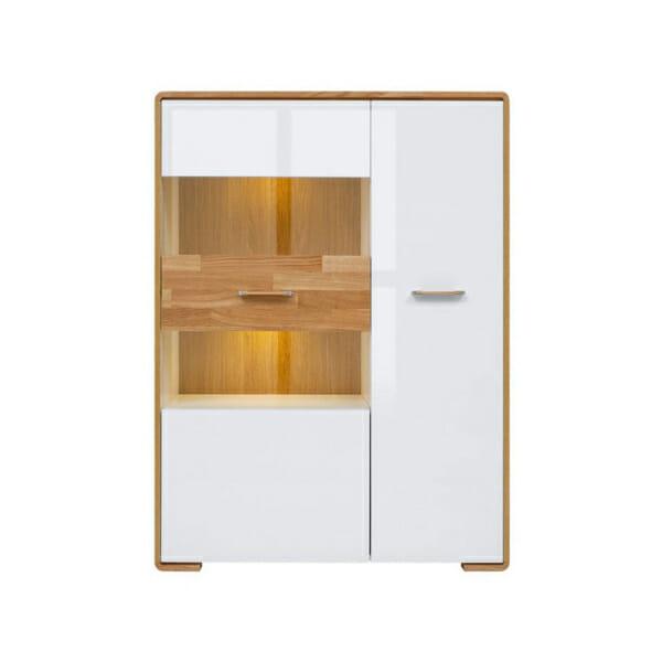 Бял шкаф със стъклена витрина и LED осветление Бари - отпред