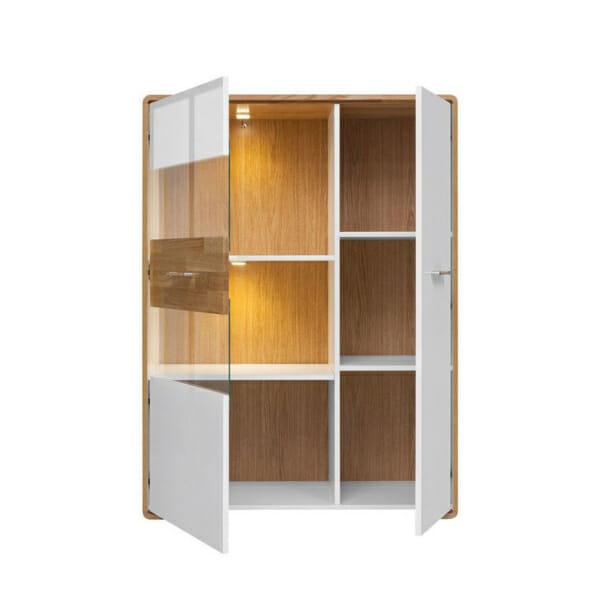 Бял шкаф със стъклена витрина и LED осветление Бари - разпределение