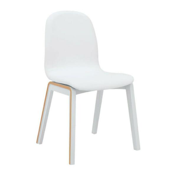 Бял трапезен стол с дървени крачета и текстилна дамаска Бари