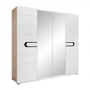Четирикрилен гардероб с бял лак и 2 огледала Бирон