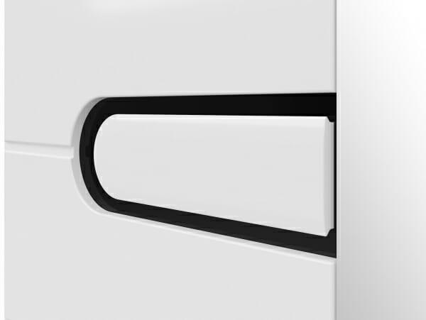 Четирикрилен гардероб с бял лак и 2 огледала Бирон - детайл