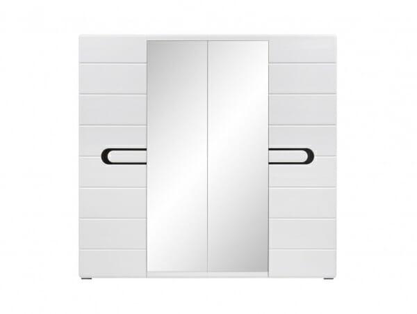 Четирикрилен гардероб с бял лак и 2 огледала Бирон - отпред