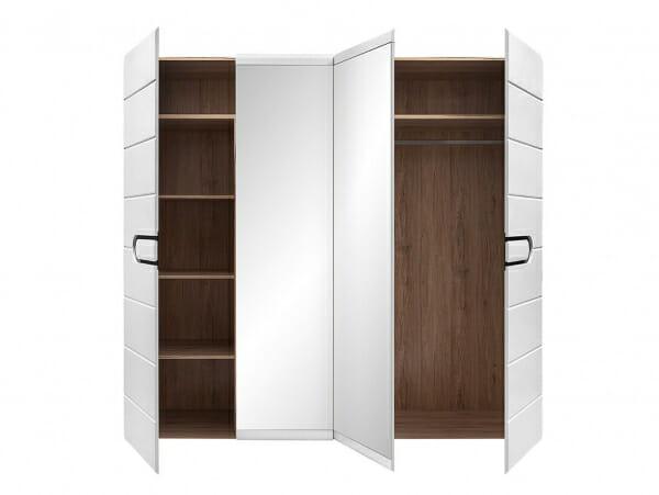 Четирикрилен гардероб с бял лак и 2 огледала Бирон - разпределение