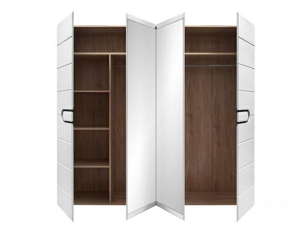 Четирикрилен гардероб с бял лак и 2 огледала Бирон - разпределение отвътре