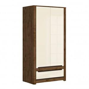 Двукрилен гардероб с чекмедже в перлен гланц Русо
