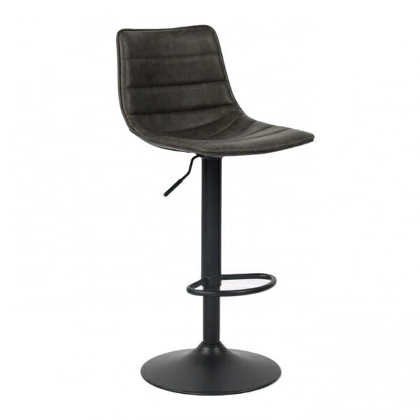 Елегантен бар стол от еко кова в черно и тъмносиво