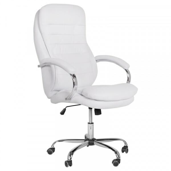 Елегантен офис стол от еко кожа и метална основа в бяло