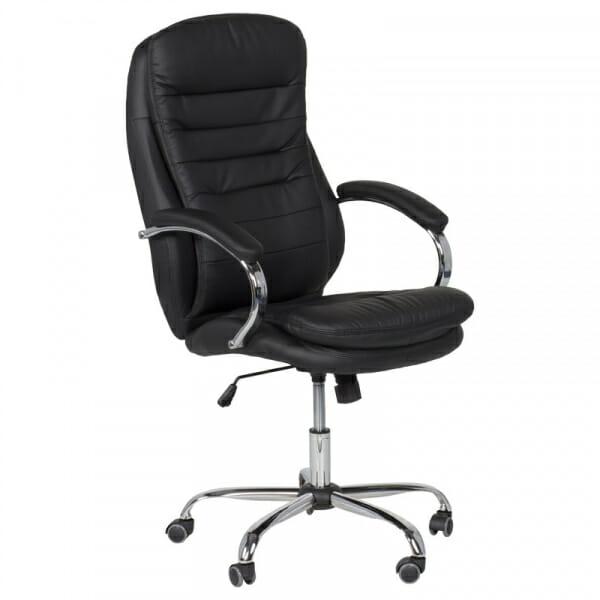 Елегантен офис стол от еко кожа и метална основа в черно