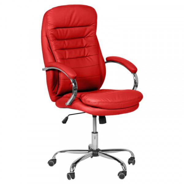 Елегантен офис стол от еко кожа и метална основа в червено
