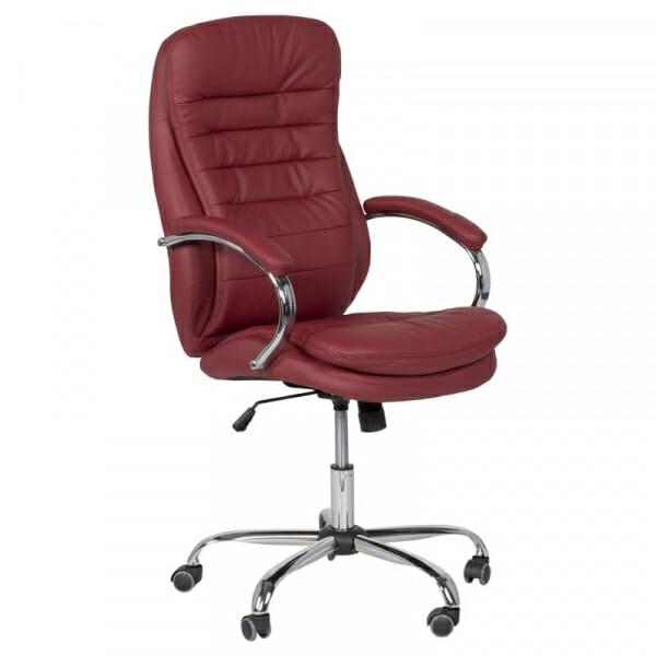 Елегантен офис стол от еко кожа и метална основа във вишна