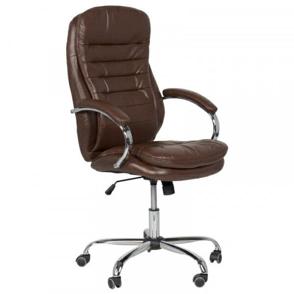 Елегантен офис стол от еко кожа и метална основа в кафе
