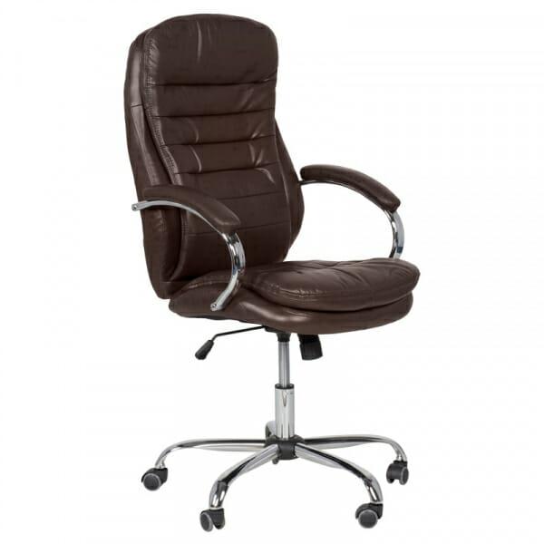 Елегантен офис стол от еко кожа и метална основа в какао