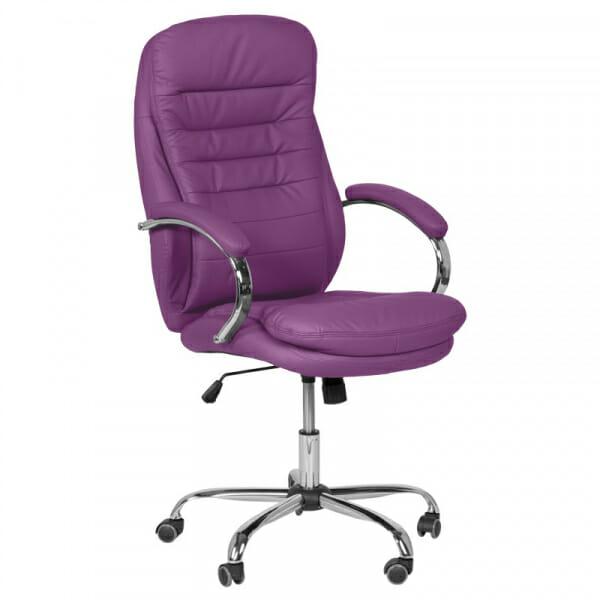 Елегантен офис стол от еко кожа и метална основа в лилаво