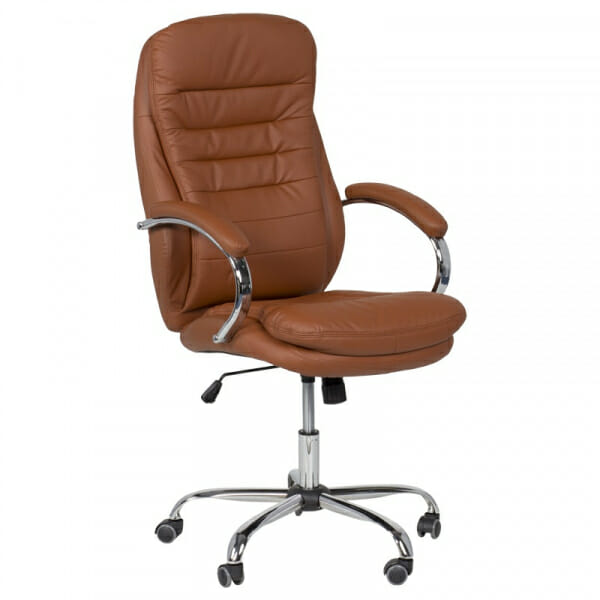 Елегантен офис стол от еко кожа и метална основа в тъмнооранжево