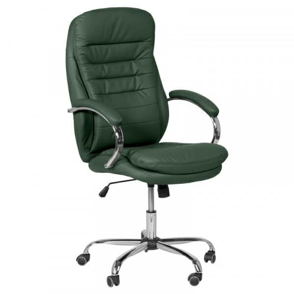 Елегантен офис стол от еко кожа и метална основа в зелено