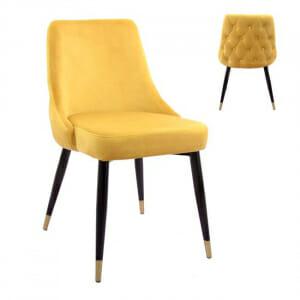 Елегантен стол с дамаска от кадифе и златни детайли в жълто