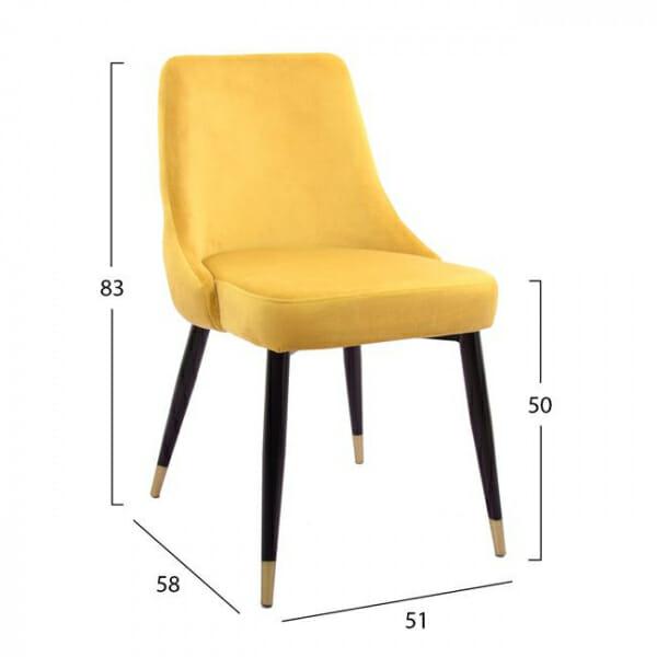 Елегантен стол с дамаска от кадифе и златни детайли-размери