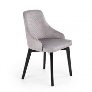 Елегантен трапезен стол с дамаско от ватирано кадифе в сиво