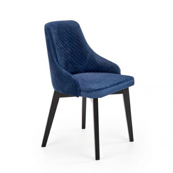 Елегантен трапезен стол с дамаско от ватирано кадифе в тъмносиньо