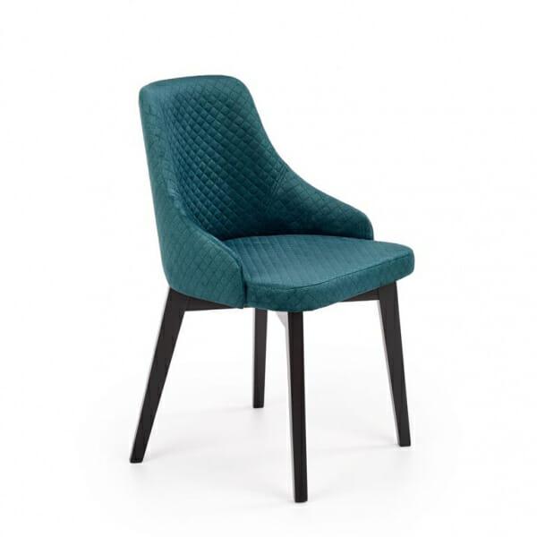 Елегантен трапезен стол с дамаско от ватирано кадифе в тюркоаз
