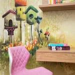 Розов детски офис стол