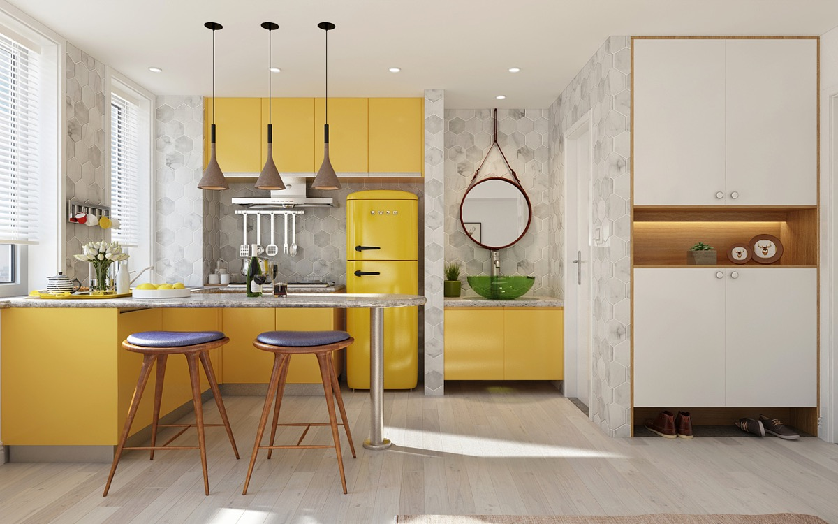 Жълта кухня с остров - Muji