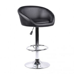 Кръгъл бар стол от еко кожа и метална основа