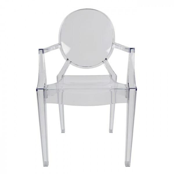 Модерен прозрачен стол с подлакътници-отпред