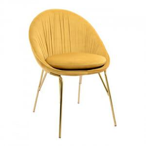 Модерен трапезен стол от кадифе в жълто